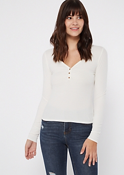 Ivory Cinched Button Front Tee