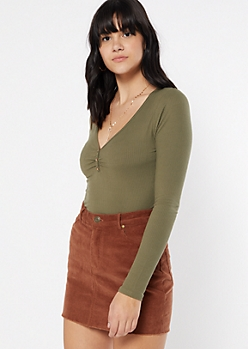 Olive Cinched Button Front Tee