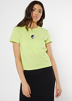 Neon Green Drippy Yin Yang Embroidered Tee