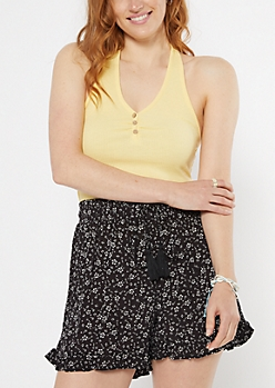 Yellow Ribbed Button Front Halter Top