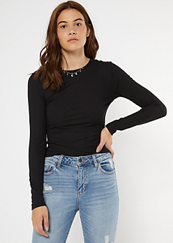 Black Ribbed Knit Long Sleeve Top