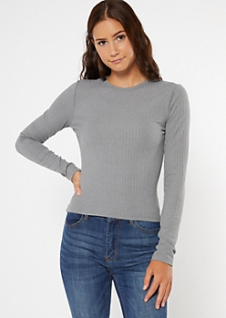 Heather Gray Ribbed Knit Long Sleeve Top