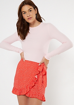 Pink Ribbed Knit Long Sleeve Top