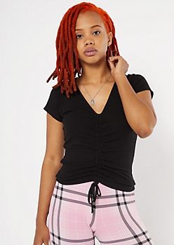 Black Ribbed Cinched Drawstring Front Tee