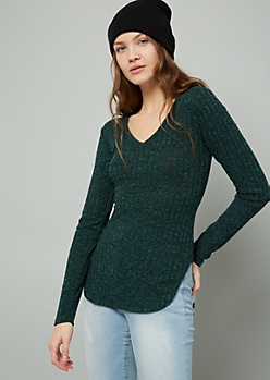 Green V Neck High Low Ribbed Hacci Sweater