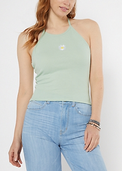 Daisy Embroidered Tie Back Halter Top