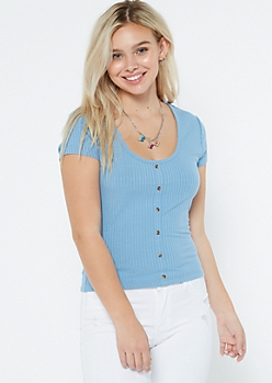 Blue Ribbed Knit Button Front Tee