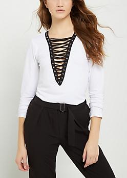 White Lace Up Soft Brushed Shirt