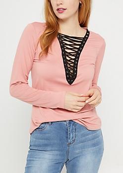 Light Pink Lace Up Soft Brushed Shirt