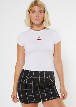 White Cherry Embroidered Ribbed Lettuce Edge Tee