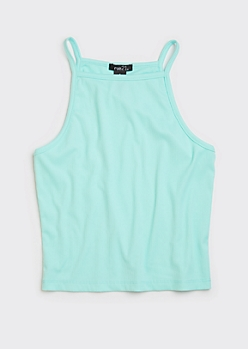 Teal High Neck Ribbed Knit Tank Top