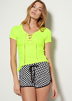 Neon Yellow Super Soft Lace Up Tee