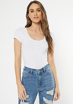 White Super Soft Ribbed Knit Snap Henley Top