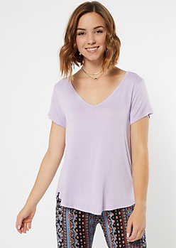 Lavender Super Soft V Neck Tee