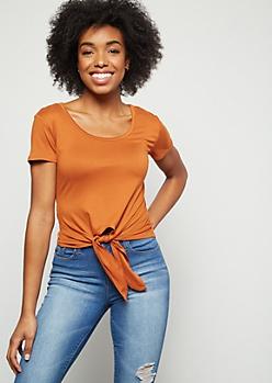 Burnt Orange Super Soft Tie Front Essential Tee