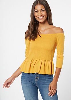 Mustard Smocked Peplum Top