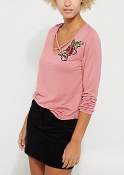 Medium Pink Rose Patch Cross Strap Long Sleeve Tee