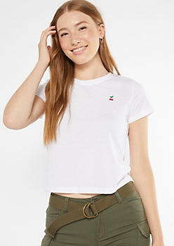 White Cherry Embroidered Tee