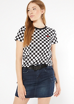 Checkered Print Rose Embroidered Tee