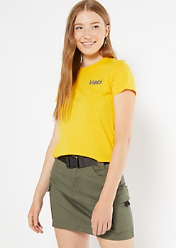 Mustard Checkered Print Vibes Embroidered Tee