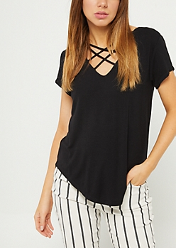 Black Cross Strap Tee