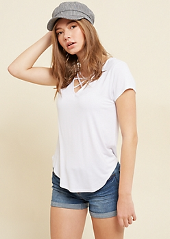 White Lattice Strap Tee
