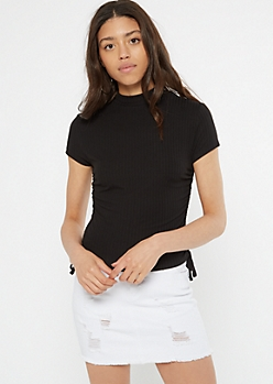 Black Mock Neck Cinched Drawstring Side Tee
