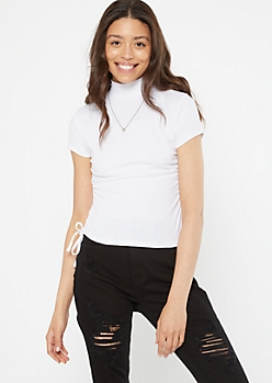 White Mock Neck Cinched Drawstring Side Tee