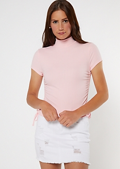 Pink Mock Neck Cinched Drawstring Side Tee