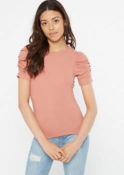 Pink Puff Sleeve Super Soft Ribbed Knit Tee