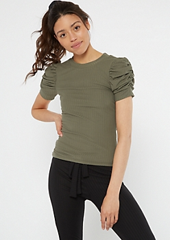 Green Puff Sleeve Super Soft Ribbed Knit Tee