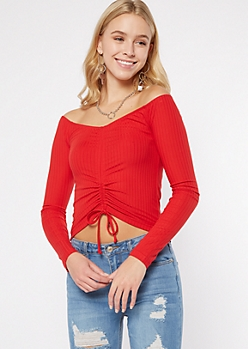 Red Off The Shoulder Cinch Front Ribbed Top