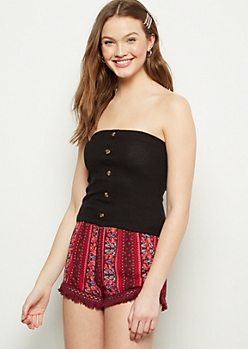 Black Ribbed Knit Button Down Tube Top