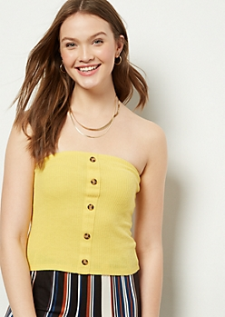 Yellow Ribbed Knit Button Down Tube Top