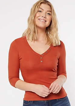 Burnt Orange Ribbed Knit V Neck Top