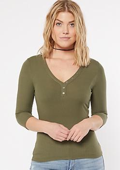 Olive Ribbed Knit V Neck Top