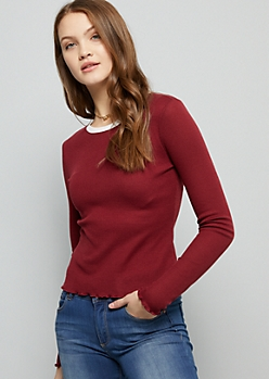 Burgundy Ringer Skimmer Thermal Tee