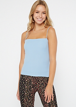 Light Blue Ribbed Knit Bungee Tank Top