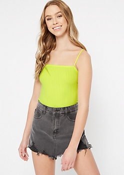 Neon Green Ribbed Knit Bungee Tank Top