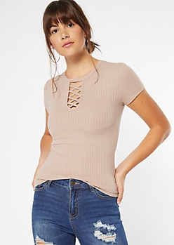 Taupe Ribbed Knit Lattice Neck Tee