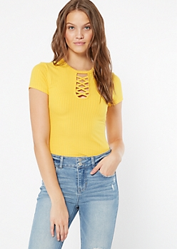 Mustard Ribbed Knit Lattice Neck Tee