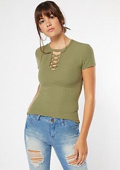 Olive Ribbed Knit Lattice Neck Tee