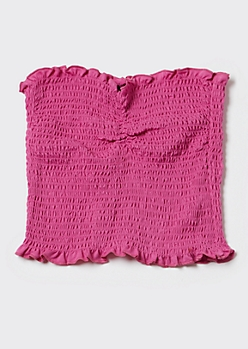 Magenta Cinch Smocked Tube Top
