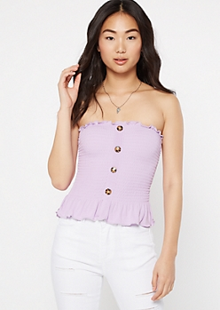 Lavender Smocked Peplum Tube Top