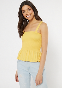Yellow Smocked Peplum Tank Top
