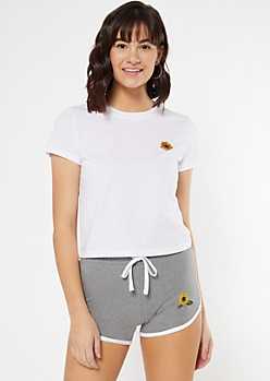 White Sunflower Embroidered Tee