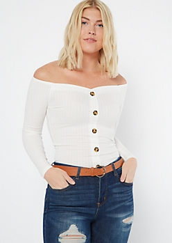 Ivory Button Front Off The Shoulder Top