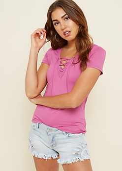 Purple Lace Up Super Soft Tee