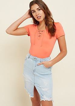 Coral Lace Up Super Soft Tee
