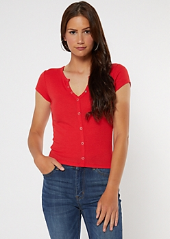Cherry Red Snap Front Henley Tee